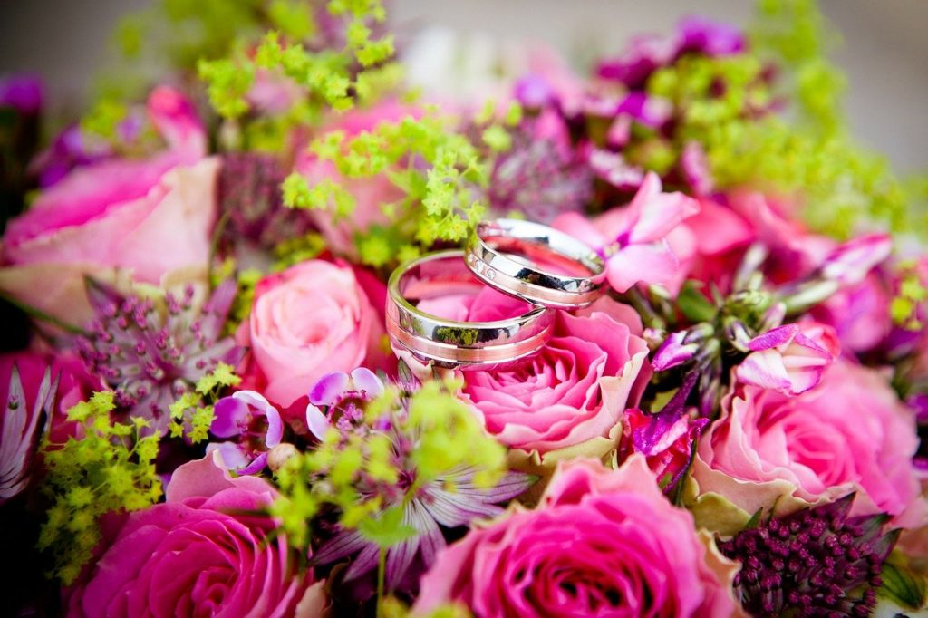 flowers, wedding, wedding rings
